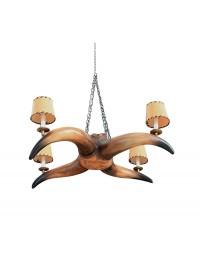 Brauner Stierhorn Kronleuchter mit 4 Lichtern und Lampenschirmen