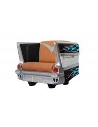 Sitz Chevy Schwarz mit blauen Flammen und braunem Polster
