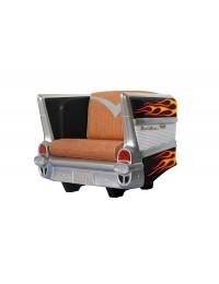 Sitz Chevy Schwarz mit gelben Flammen und braunem Polster
