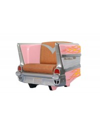 Sitz Chevy Rosa mit orangenen Flammen und braunem Polster