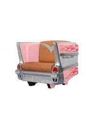 Sitz Chevy Rosa mit pink goldenen Flammen und braunem Polster