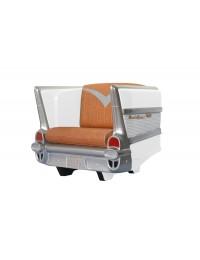 Sitz Chevy Weiß mit braunem Polster