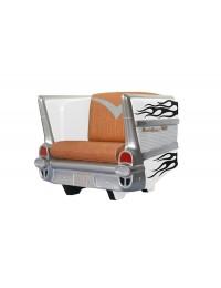 Sitz Chevy Weiß mit schwarzen Flammen und braunem Polster