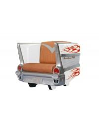 Sitz Chevy Weiß mit orangenen Flammen und braunem Polster
