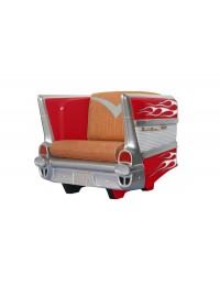 Sitz Chevy Rot mit weißen Flammen und braunem Polster