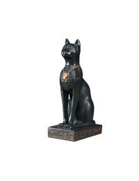 ägyptische Katze Onyx Schwarz mit goldener Skarabäuskette