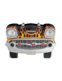 Sitzbank Chevy Schwarz mit orangenen Flammen und schwarzem Polst
