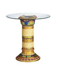 Bunte Säule Tisch mit Glasplatte
