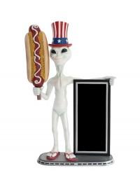 Alien amerika mit Hotdog und Angebotstafel