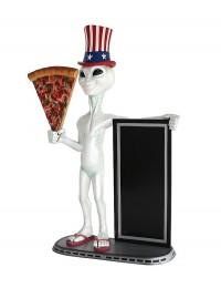 Alien amerika mit Pizzastück und Angebotstafel