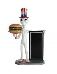 Alien amerika mit Burger und Angebotstafel