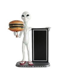 Alien mit Burger und Angebotstafel