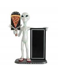 Alien mit Pizzaschild und Angebotstafel