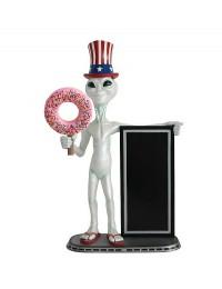 Alien amerika mit Donut rosa und Angebotstafel