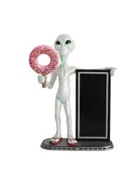 Alien mit Donut rosa und Angebotstafel