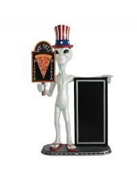 Alien amerika mit Pizza auf Tafel und Angebotstafel