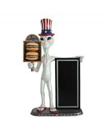 Alien amerika mit 2 Burgern auf Tafel und Angebotstafel