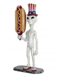 Alien amerika mit Hotdog