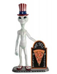Alien amerika mit Pizza auf Angebotstafel