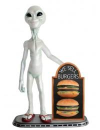 Alien mit 2 Burgern auf Angebotstafel