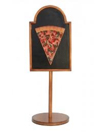 Pizzastück auf Angebotstafel auf Ständer