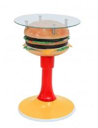 Burgertisch auf Ständer mit Glasplatte