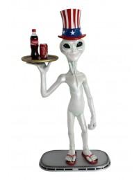 Alien mit amerikanischem Hut Butler mit Tablett oben