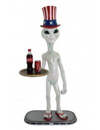 Alien mit amerikanischem Hut Butler mit Tablett unten