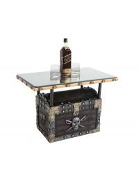 Piraten Schatztruhe Dunkel Tisch mit Holz und Glasplatte