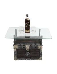 Schatztruhe Tisch mit Glasplatte