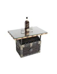 Schatztruhe Tisch mit Holz und Glasplatte