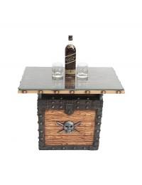 Piraten Schatztruhe Hell Tisch mit Holz und Glasplatte