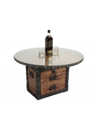 Truhe Tisch mit Holz und Glasplatte Rund und Schubladen