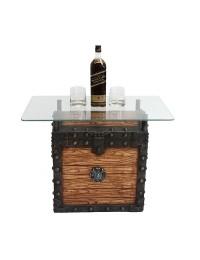 Schatztruhe Tisch hell mit Glasplatte