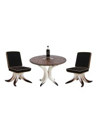 Stierhorntisch mit Holzplatte und Stierhornstühlen