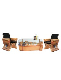 ägyptischer Sarg Tisch mit Glasplatte und Sitzen