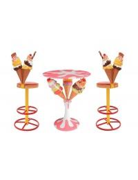 Eiscremetisch mit 3 Eistüten und Eistüten Barhocker