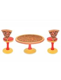 Pizzatisch auf Ständer mit Glasplatte und Pizzastühle