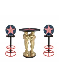 Goldener Preisfigurtisch und Hall Of Fame Barhocker