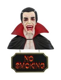 Dracula Büste mit *No Smoking*Schild
