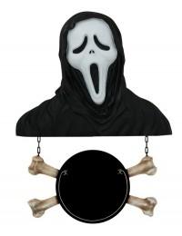Monster Scream Büste mit Angebotsschild Knochen