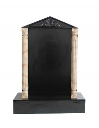Grabstein mit schwarzem Marmoreffekt und Säulen 8