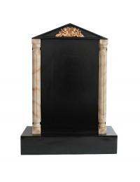 Grabstein mit schwarzem Marmoreffekt und Säulen 10
