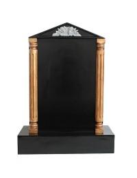 Grabstein mit schwarzem Marmoreffekt und Säulen 16