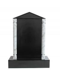 Grabstein mit schwarzem Marmoreffekt und Säulen 18
