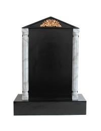 Grabstein mit schwarzem Marmoreffekt und Säulen 23