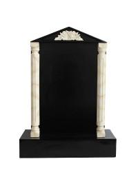 Grabstein mit schwarzem Marmoreffekt und Säulen 26