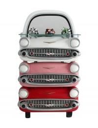 Spiegel Chevy Rot, Rosa und Weiß mit Regal