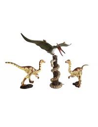 Dinosaurier Pteranodon und Raptors greifen Python auf Baum an