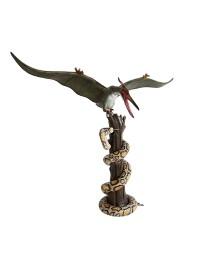 Dinosaurier Pteranodon greift Python auf Baum an